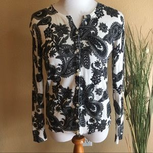 Black and White Flower Cardigan Sweater Top